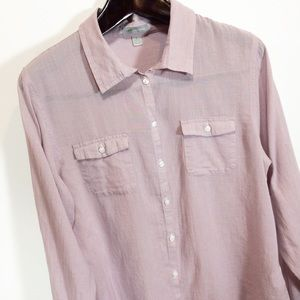 Horny Toad Button Down Top Lavender Check